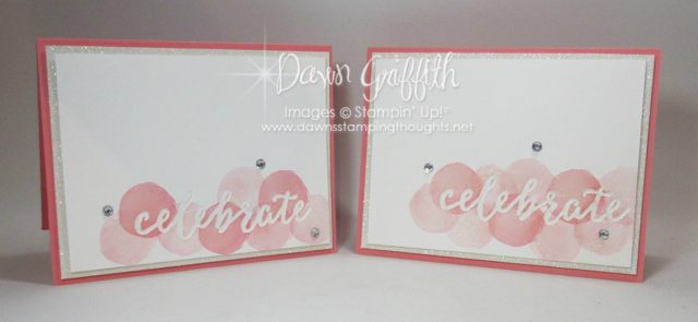 Celebrate card using the Watermelon Wonder stock and Clessic ink from Stampin'Up! I have all the details on todays blog post on DawnStampingthoughts.net #DawnGriffith
