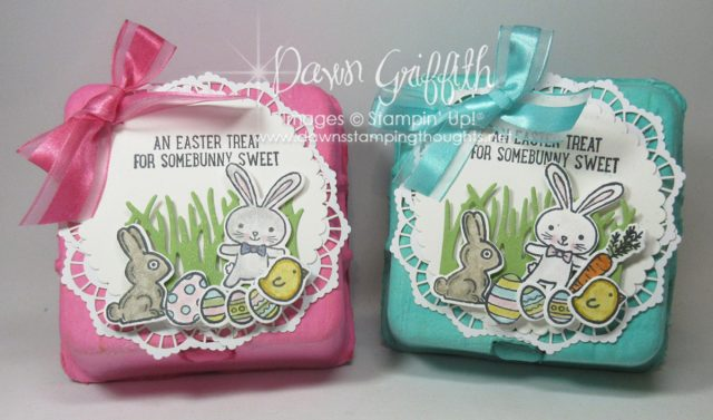 Thank you for checking out my cute Mini Egg Cartons . I have a video posted on how I colored them . Check all the details out on my blog . www.DawnsStampingThoughts.net Dawn Griffith Stampin' up! Demonstrator