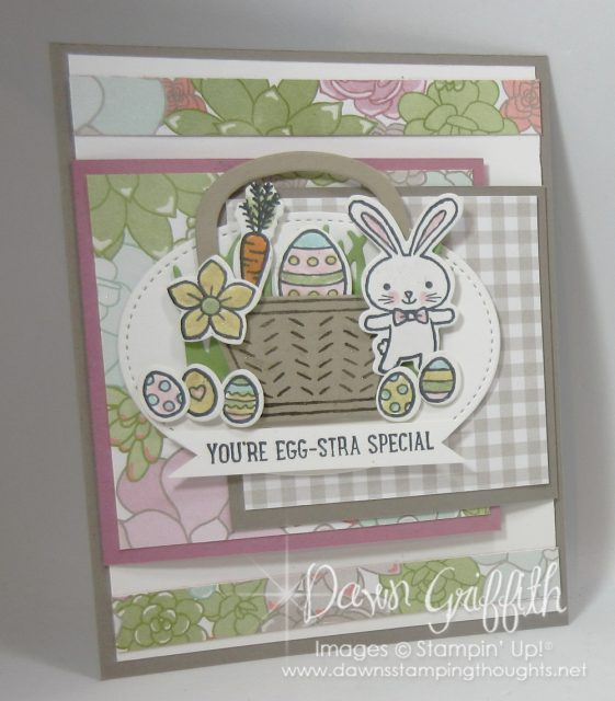 Thank you for checking out my card today . I have a video posted on this adorable fun fold Easter card check all the details out on my blog . www.DawnsStampingThoughts.net Dawn Griffith Stampin' up! Demonstrator