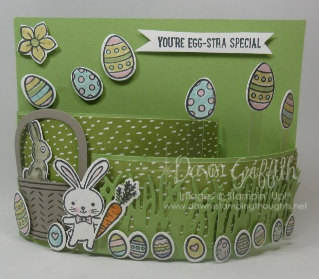Easter Bendi card , Basket Bunch stamp set and the Basket Details framelits were used on this adorable fun card check out my blog today for more details . Dawn Griffith Stampin'Up! Demonstrator