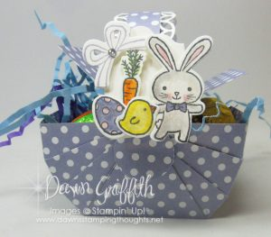 Easter Picnic Baskets , Video posted on my blog today . check out all the details on my blog www.DawnsStampingThoughts.net Dawn Griffith