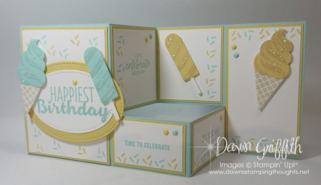 Birthday fun fold card video posted on my blog today . Cool Treats , Frozen Treats Framelits Dawn Griffith