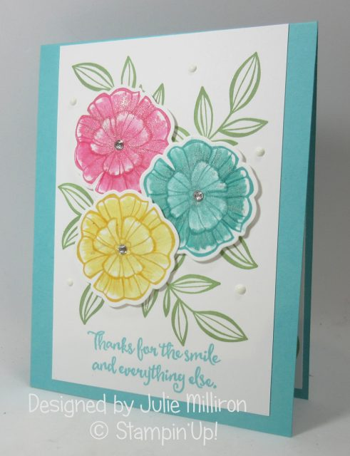 Falling Flowers stamp set , Falling Flowers card by Julie Milliron more details on my blog