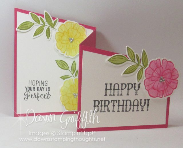 Z fold birthday card using the Falling Flowers stamp set and May Flowers Framelits . Check out the video posted on my blog . Dawn Griffith www.DawnsStampingThoughts.net