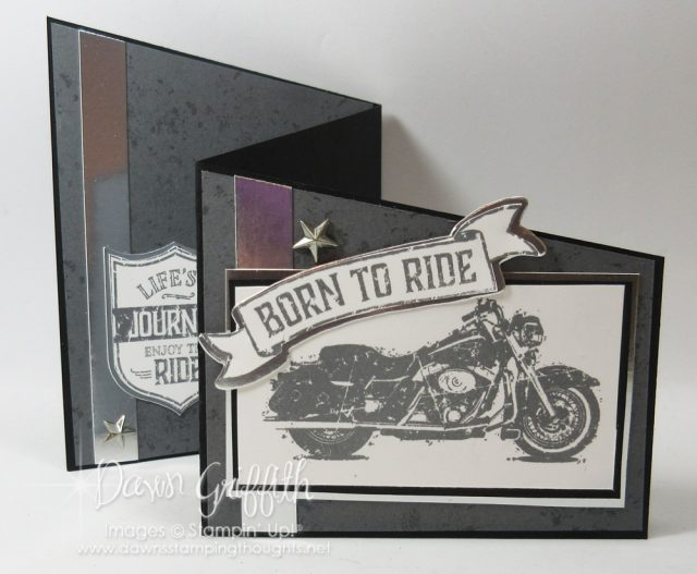 Z fold birthday card using One Wild Ride stamp set . Check out my video posted on my blog . Dawn Griffith www.DawnsStampingThoughts.net