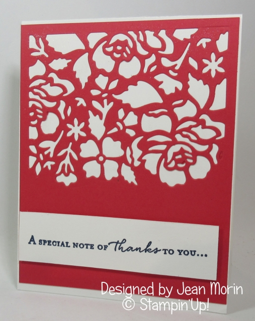Thank you card from Jean Morin , Detailed Floral Thinlits , Dawn Griffith