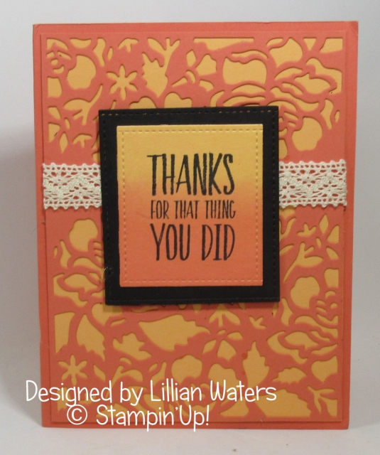 Thank you card from Lillian Waters, Detailed Floral Thinlits , Dawn Griffith