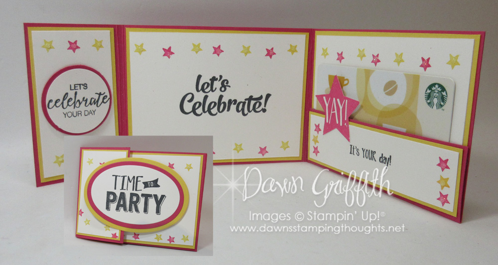 Tri fold gift card holder video dawns stamping thoughts tri fold gift card birthday card confetti celebration stamp set with bunch of negle