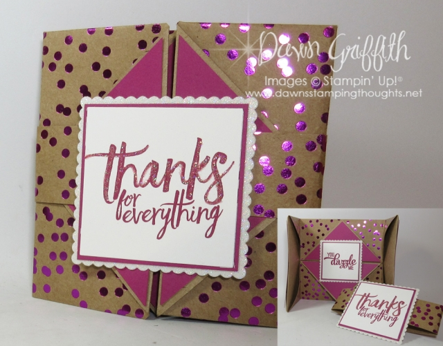 Foil Frenzy fun fold card , All Things Thanks stamp set & Pocket Full of Sunshine card by Dawn Griffith