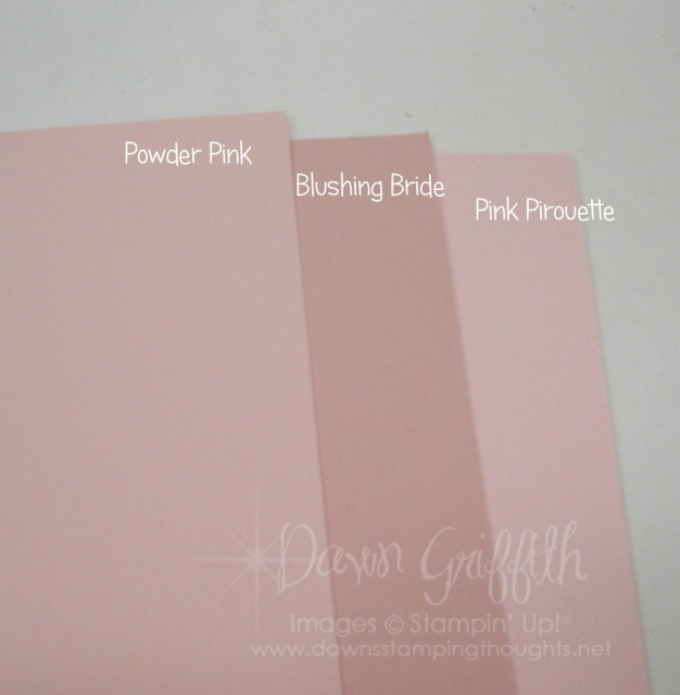 Powder Pink card stock compared to Blushing Bride and Pink Pirouette card stock check out the video on the Tranquil tulips card using the new Powder Pink card stock