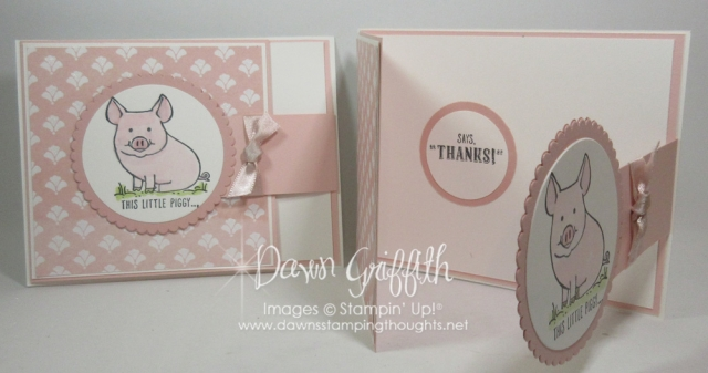 This Little Piggy Hostess cards I made for Terrie Crawford for our Stamp Club . Fun Fold Flap card video link posted in today's blog post .
