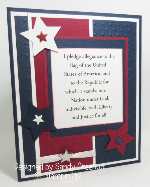 Happy 4th of July card using the Pledge of Allegiance on the front. Thank you Sandy Greenup for your beautiful card .