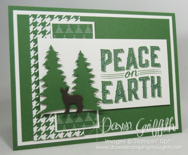 Peace on Earth Christmas card using the new Carols of Christmas . Available for FREE for the month of July when you purchase the starter kit . Dawnsstampingthoughts.net