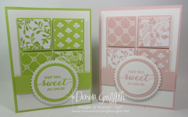 Sweet as can be card using the Fresh Florals designer paper cards by Dawn Griffith measurements are posted on my blog www.DawnsStampingThoughts.net