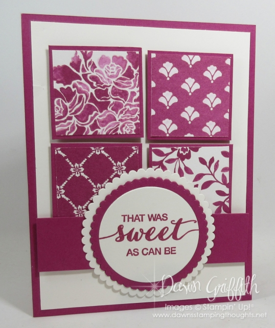 Sweet as can be card using the Fresh Florals designer paper and Berry Burst card stock and classic ink card by Dawn Griffith measurements are posted on my blog www.DawnsStampingThoughts.net