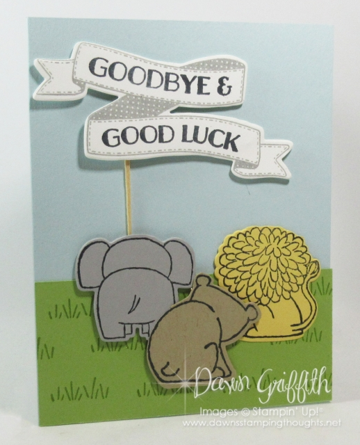 Goodbye & Good Luck card using the A Little Wild stamp set with the Little Loves framelits from Stampin'Up! video and more details posted on my blog today www.DawnsStampingThoughts.net