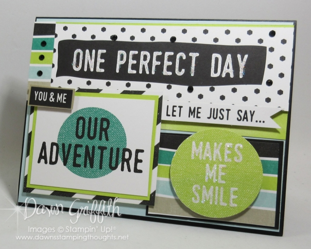 One Prefect day card I made for my husband for our 29th wedding anniversary . I used the Perfect Days Memories & More card pack # 144209 more details on my blog https://dawnsstampingthoughts.net/