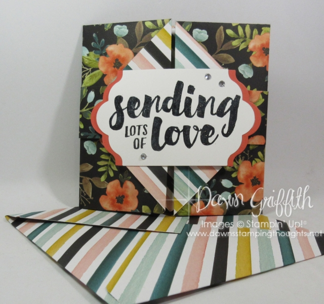 Sending Love Double Gate fold card using the Whole Lot of Lovely designer paper check out my blog for allthe detailed PLUS our First Friday Glitter Queens Blog Hop with our theme of Designer paper