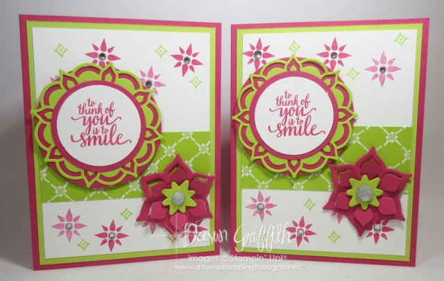 To think of YOU is to Smile cards by Dawn Griffith Eastern Beauty stamp set with the Eastern Medallion Thinlits all the details posted on my Blog www.DawnsStampingThoughts.net