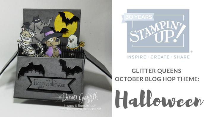 Glitter Queens October Blog Hop Halloween~ Rectangle Pop up card in a box video