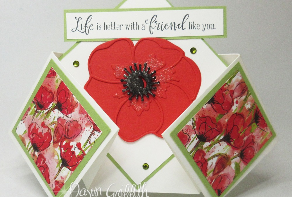 Painted Poppies~ Double Diamond Fold card
