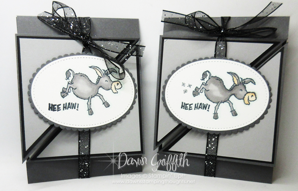 Two for Thursday ~ Diagonal Darling Donkeys Tri-Fold Card videos